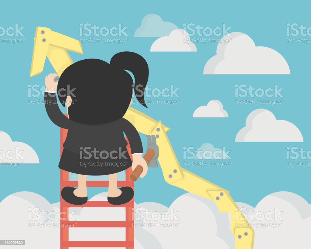 business woman create stock route up by oneself ladder against the sky. education and success concept vector art illustration