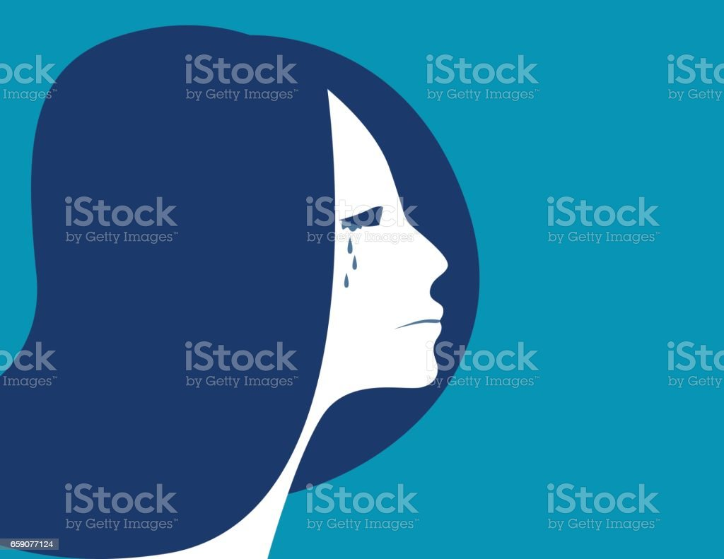 Business woman crying, depressed woman, Concept woman character illustration. vector flat vector art illustration