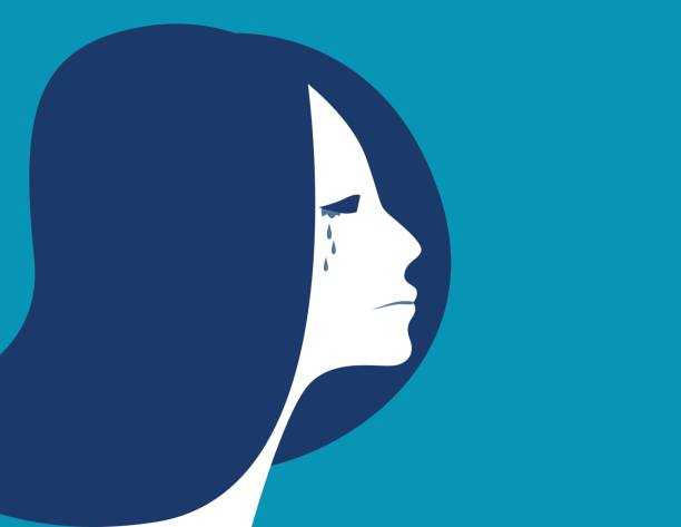 Business woman crying, depressed woman, Concept woman character illustration. vector flat Business woman crying, depressed woman, Concept woman character illustration. vector flat teardrop stock illustrations