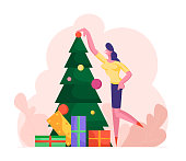 Business Woman Decorating Christmas Tree with Many Gifts and Put Ball on Top. Happy Girl Character Preparing for New Year and Xmas Celebration. Winter Season Holidays Cartoon Flat Vector Illustration