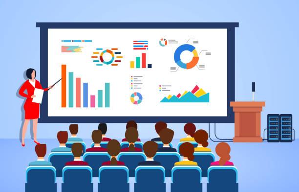 Geschäftsfrau, die Geschäftsberichte über Geschäftsdaten, Marketing, Finanzanalyse auf dem Podium macht – Vektorgrafik