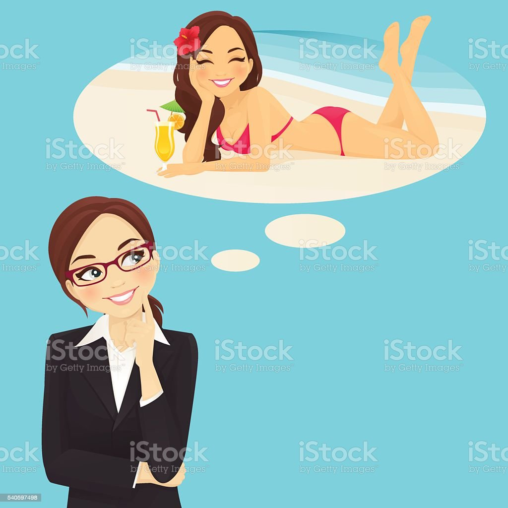Business woman dreaming about vacation vector art illustration