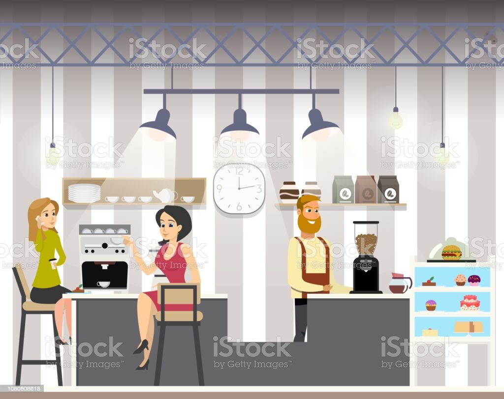 Business Woman Drink Coffe in Cafe vector art illustration