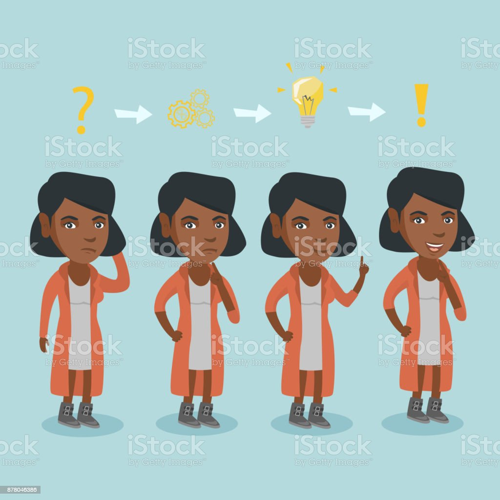 Business woman during process of business planning vector art illustration