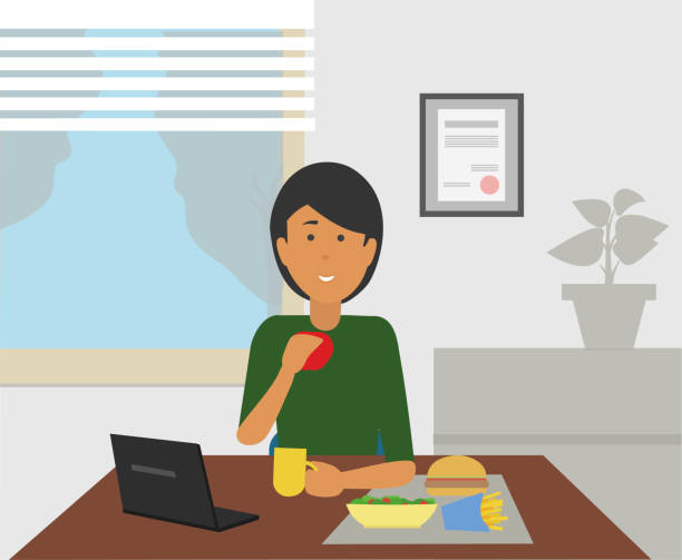 Business woman eating snacks while sitting at her desk. Burger and fries on table. Office lunch break concept illustration vector. female sandwich stock illustrations
