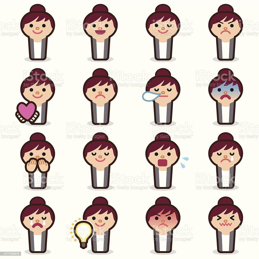Business woman emoticons vector art illustration