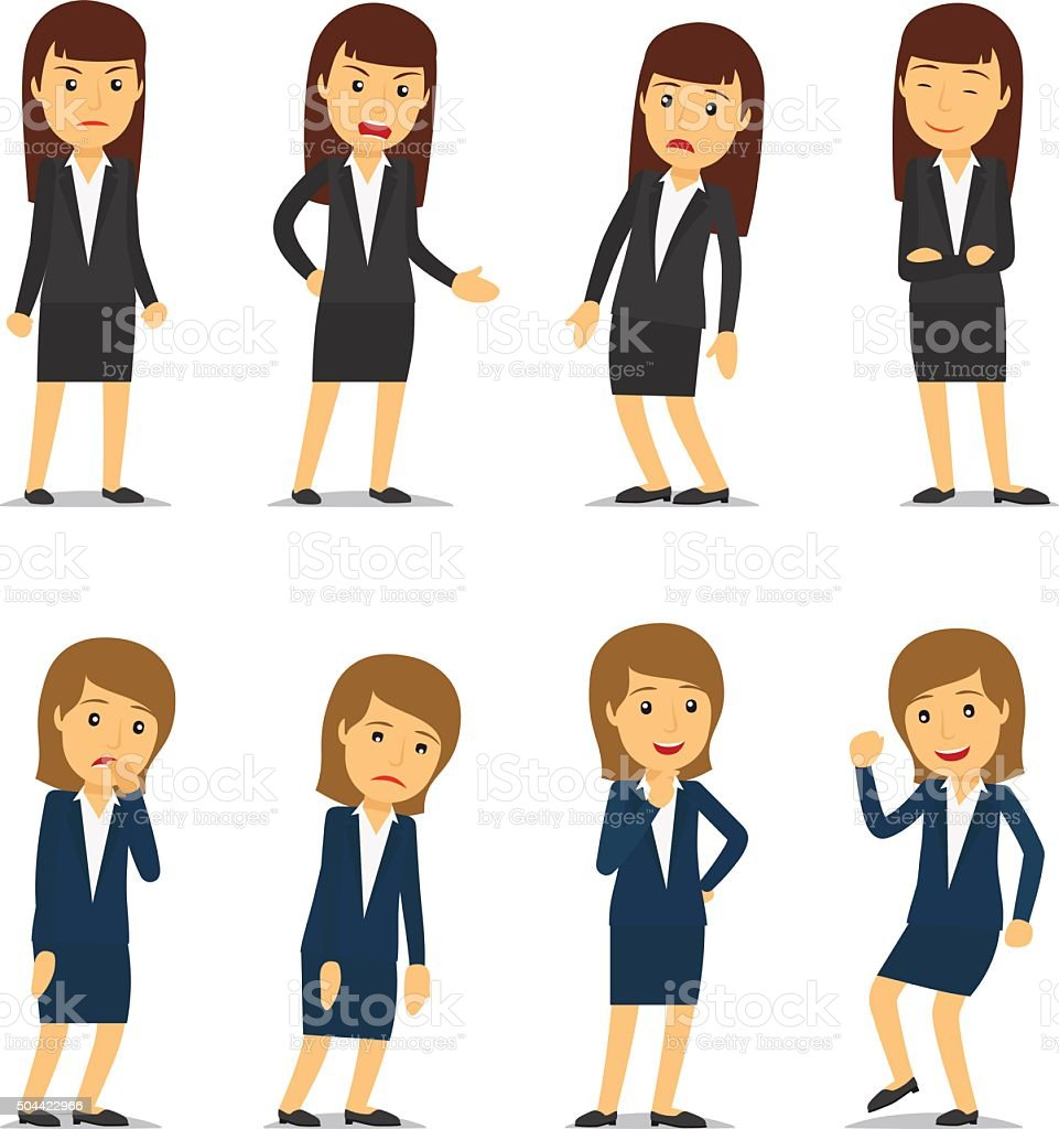 Business woman emotions vector art illustration