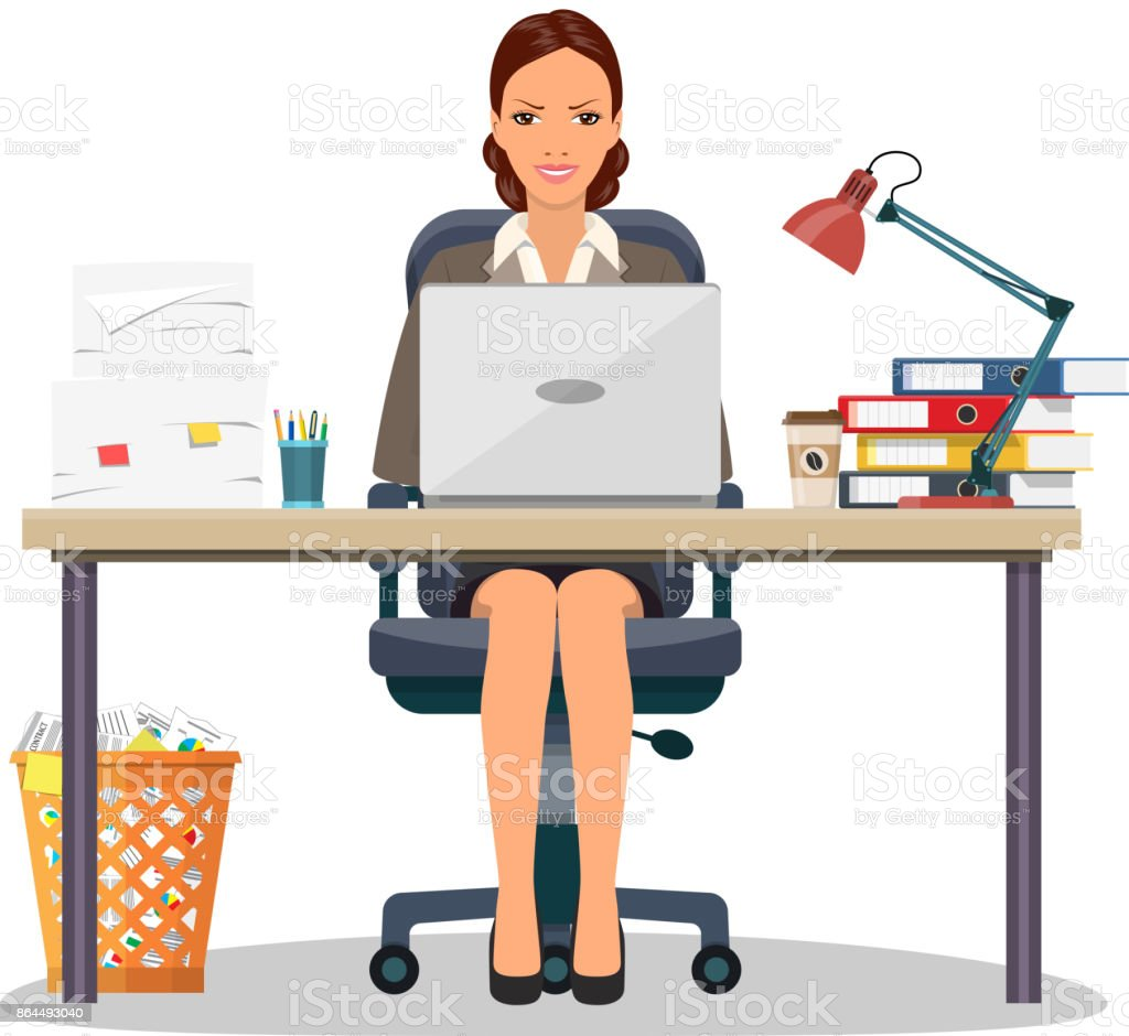 Business woman entrepreneur vector art illustration