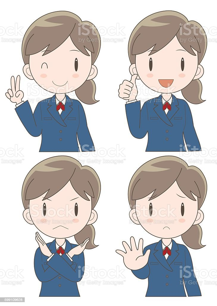 business woman expression set vector art illustration