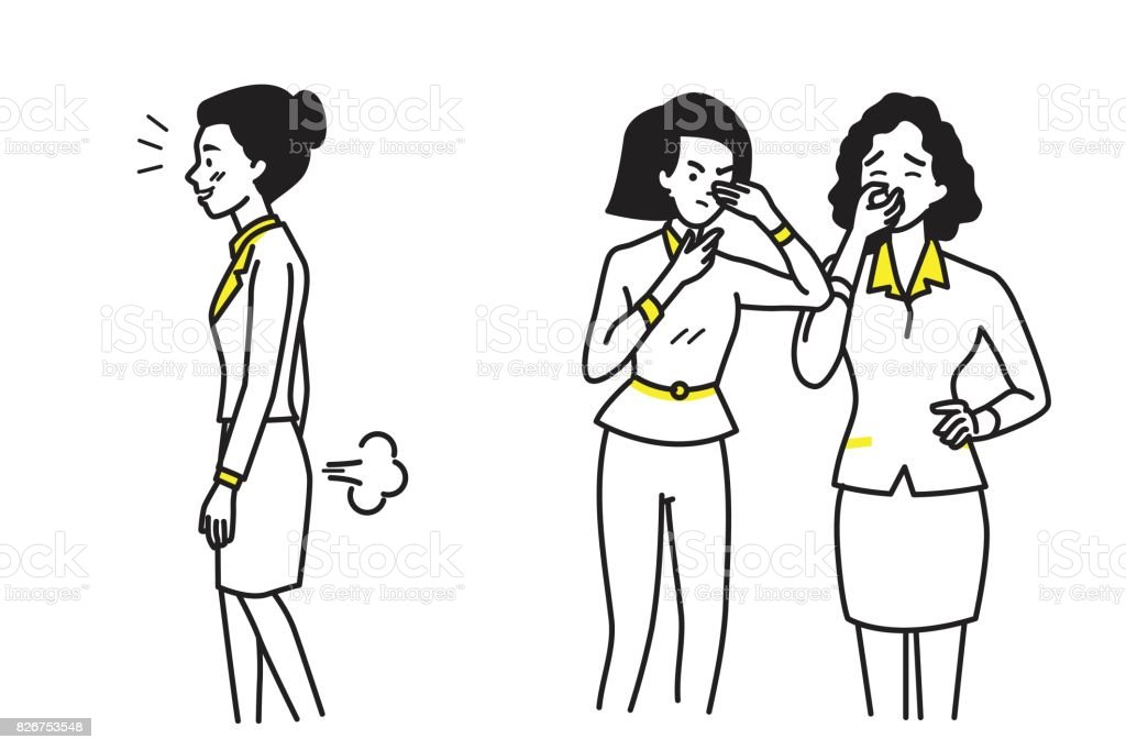 Business woman farting vector art illustration