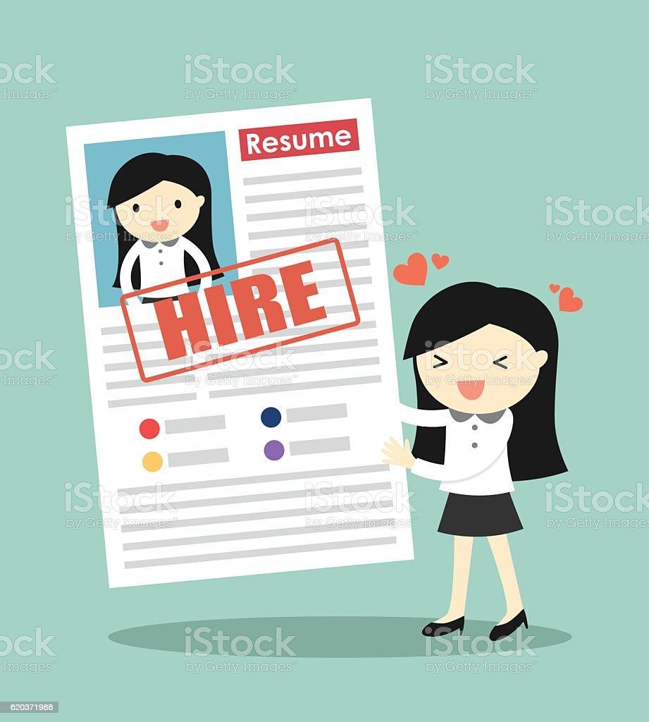 Business woman feeling happy because her resume is approved. business woman feeling happy because her resume is approved - stockowe grafiki wektorowe i więcej obrazów baner royalty-free