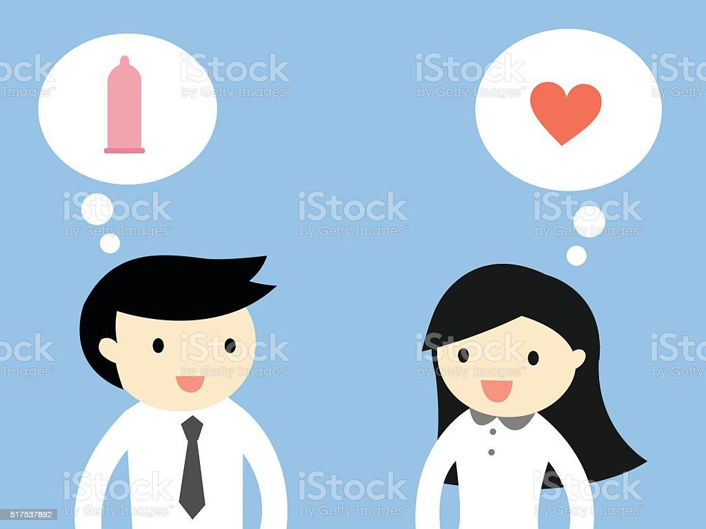 Business woman feeling love, but businessman wants only sex. vector art illustration