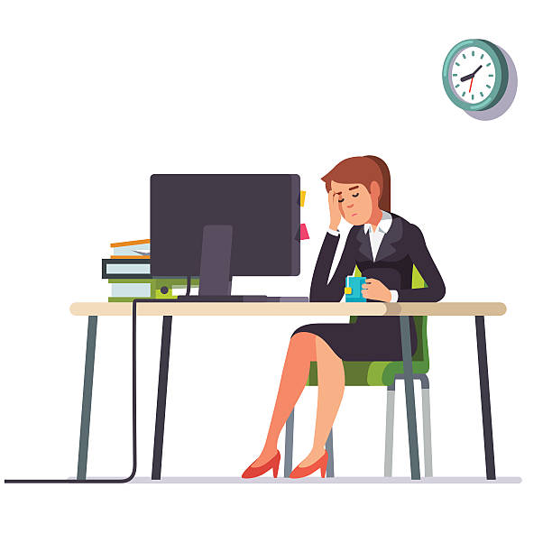 Business woman fell asleep at her office desk Business woman or an accountant in a suit fell asleep working on a laptop computer at her office desk. Flat style color modern vector illustration. tired woman stock illustrations