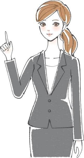 ビジネス女性指を指してください。 - 受付係点のイラスト素材/クリップアート素材/マンガ素材/アイコン素材