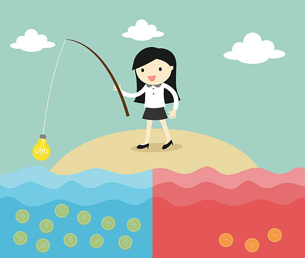 business woman fishing coins by using idea. vector art illustration