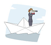 istock Business Woman Floating on Paper Ship. Female Character Looking in Spyglass Sailing on Boat in Open Sea or Ocean Waves 1288486153