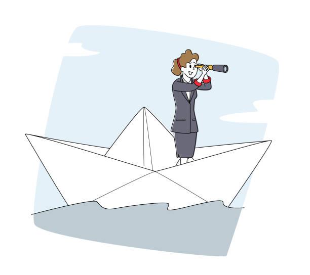 stockillustraties, clipart, cartoons en iconen met bedrijfsvrouw die op document schip drijft. vrouwelijk karakter dat in spyglass kijkt die op boot in open zee of golven van de oceaan zeilt - woman water