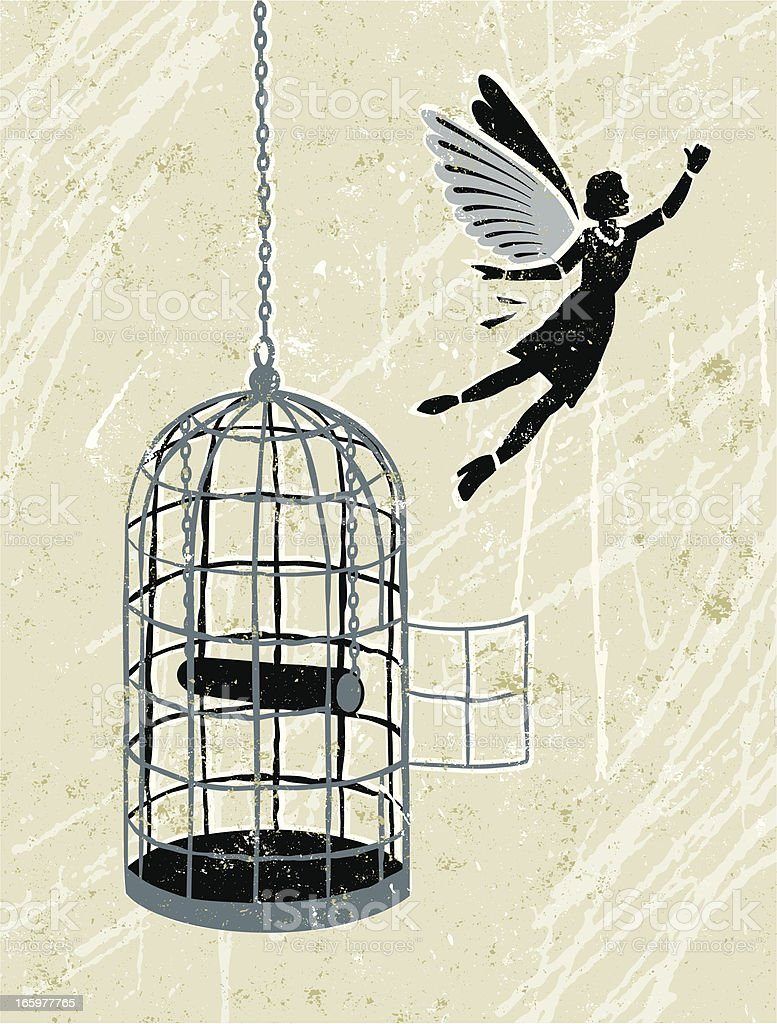Business Woman Flying Free From Bird cage vector art illustration
