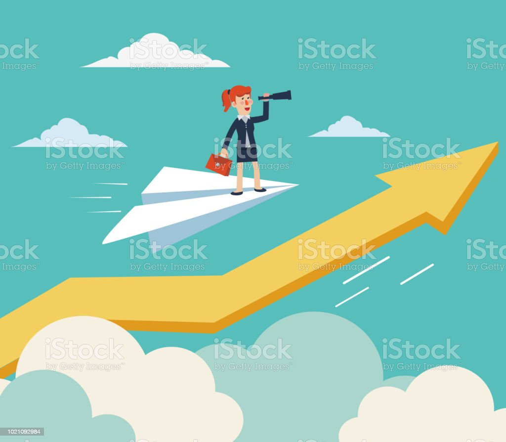Business woman flying on paper plane over growing graph arrow and looking in spyglass. Young woman searching for new opportunity vector art illustration