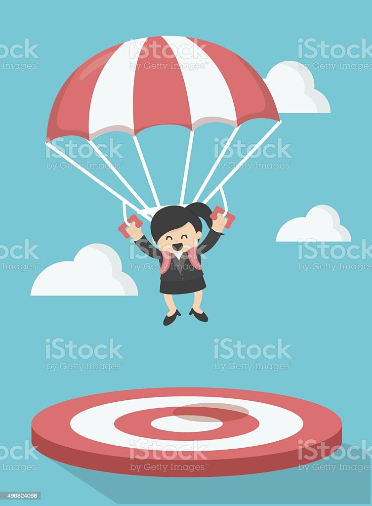Business Woman focused on a target vector art illustration