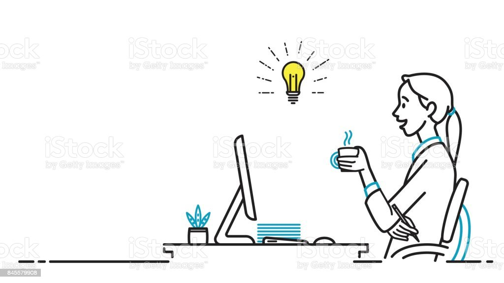 Business woman getting idea at workplace vector art illustration