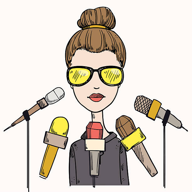 business woman gives interview vector art illustration