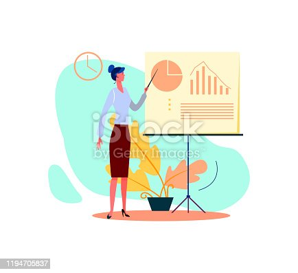 Business woman giving presentation. Lecturer female pointing at diagram on white board flat vector illustration. concept for banner, website design or landing web page