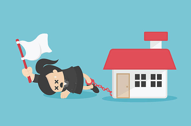 ilustraciones, imágenes clip art, dibujos animados e iconos de stock de business woman has debts to worry about going home  existing - embargo hipotecario