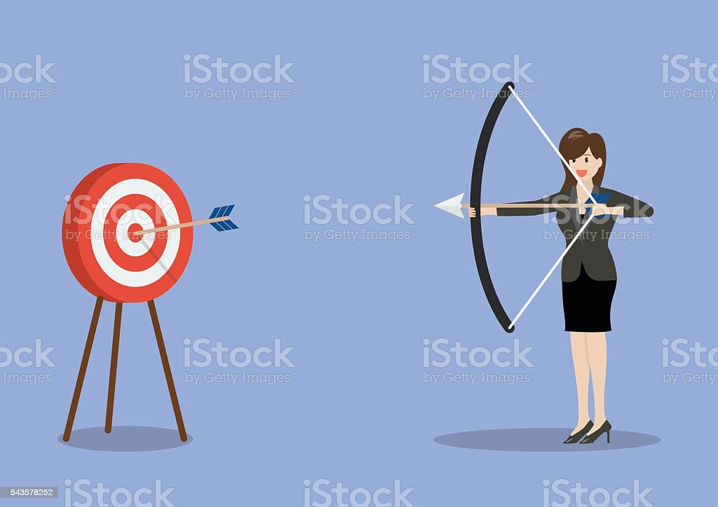 Business woman hitting the target vector art illustration