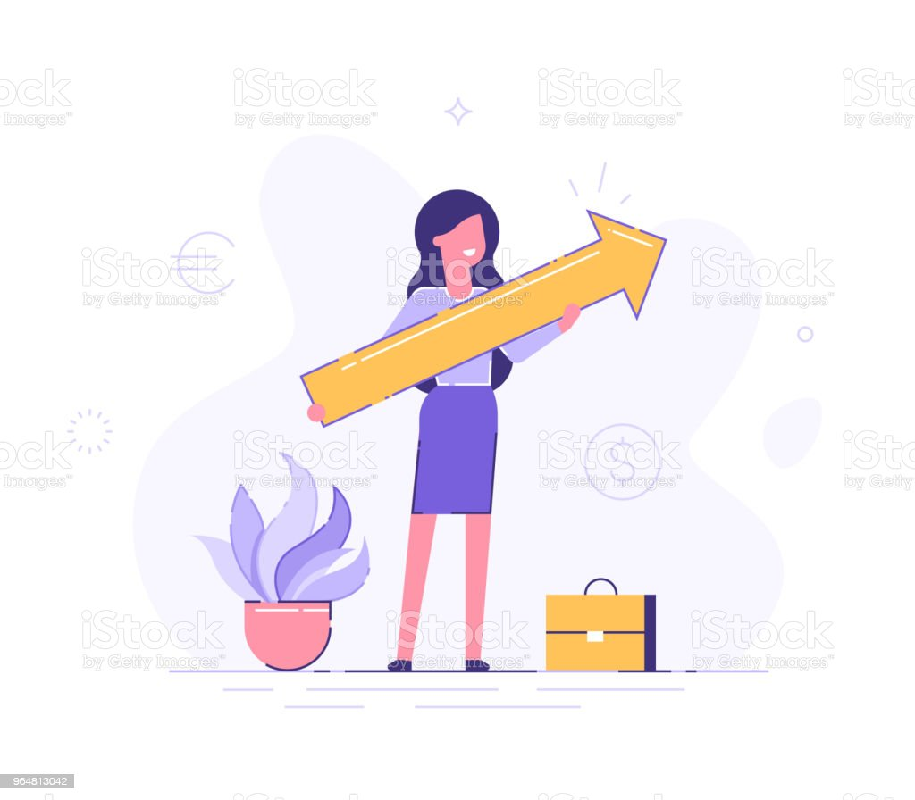 Business woman holding arrow pointing right up indicating success. Flat vector illustration. royalty-free business woman holding arrow pointing right up indicating success flat vector illustration stock vector art & more images of achievement