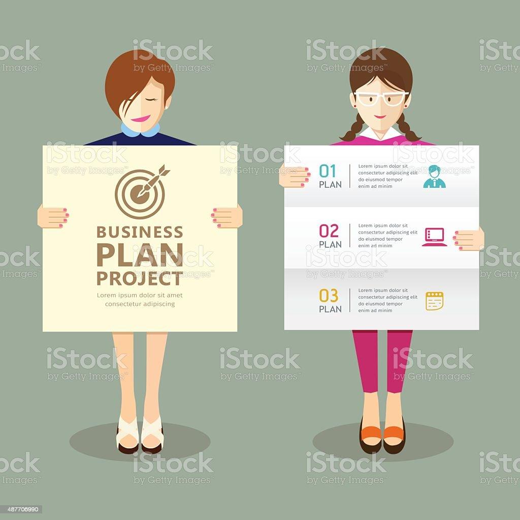 ビジネスプレゼンテーションプロジェクト計画を持つ女性 2015年の