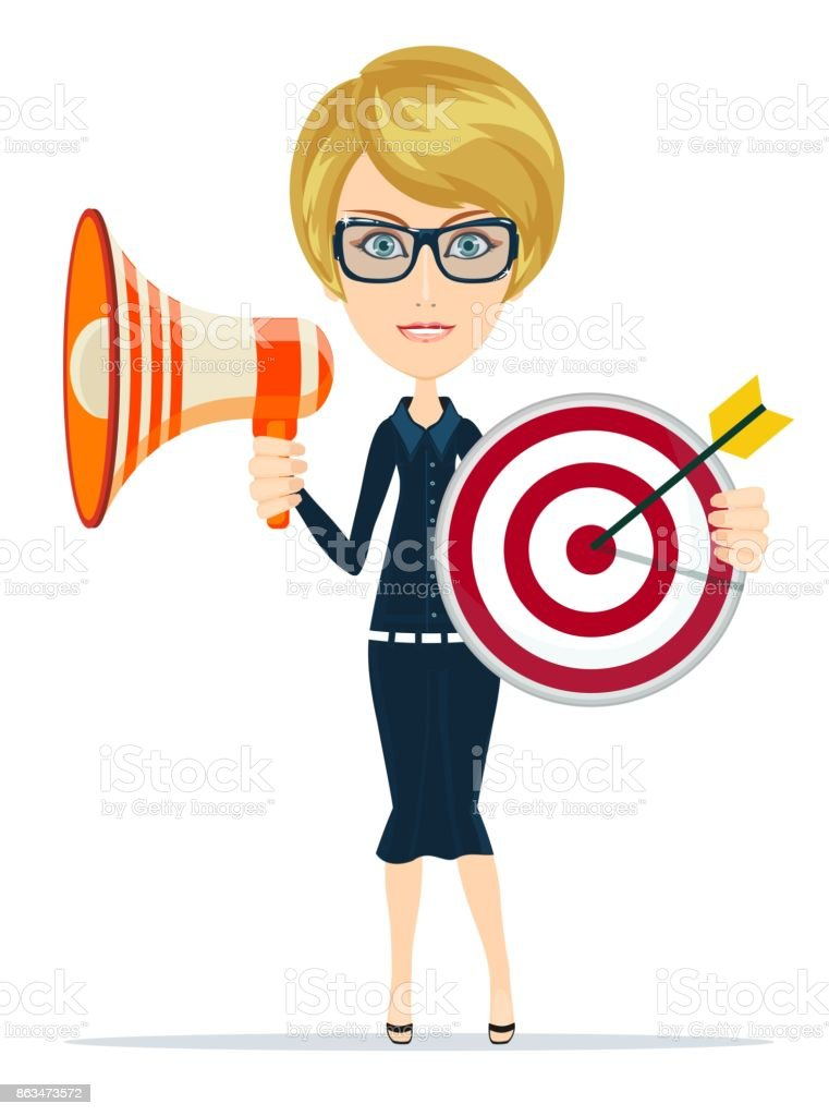 Business woman holding target and megaphone vector art illustration