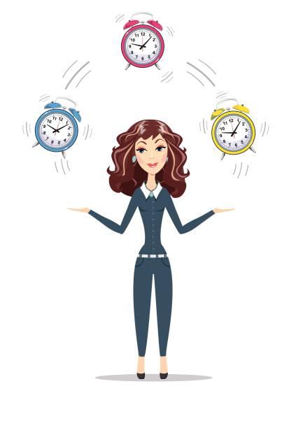 ilustraciones, imágenes clip art, dibujos animados e iconos de stock de mujer de negocios tiempo - suministros escolares