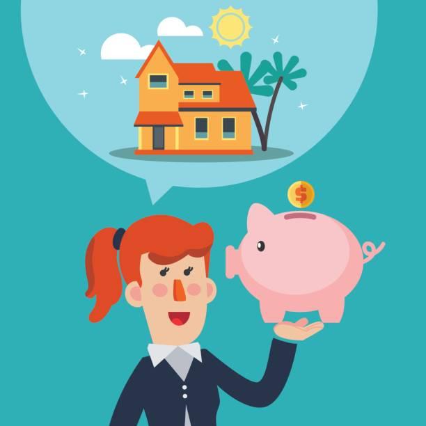 Sparen Sie Geld für das Haus. Stock-Vektorgrafik (Lizenzfrei) 378437659