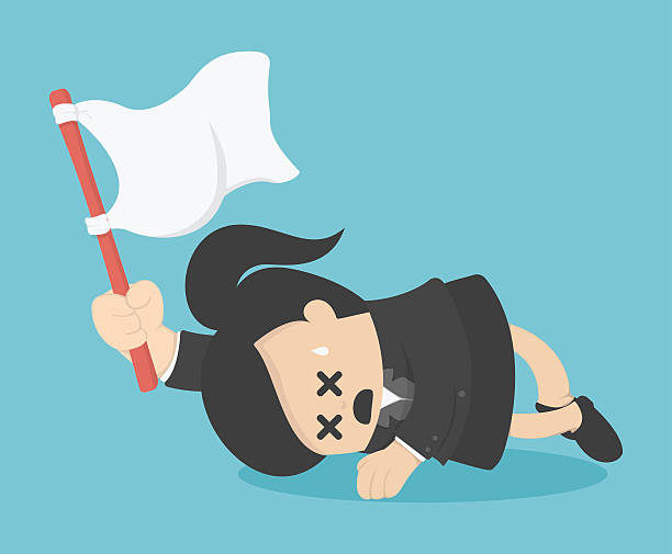 business woman holds white flag of surrender. - ohnmacht stock-grafiken, -clipart, -cartoons und -symbole