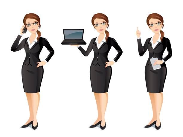 business-frau im schwarzen anzug - chefin stock-grafiken, -clipart, -cartoons und -symbole