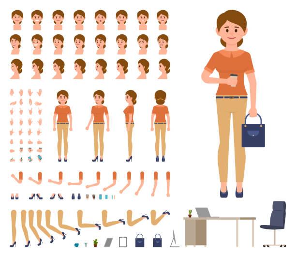 ilustrações, clipart, desenhos animados e ícones de mulher de negócios no escritório casual olhar conjunto de criação de personagem. kit de construtor de gerenciador de estilo de desenho animado - landscape creation kit