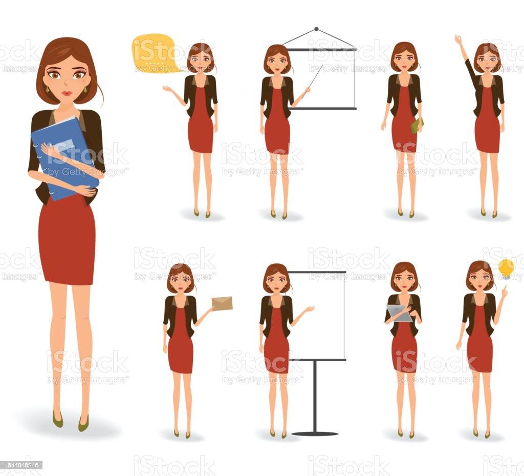 Mujer de negocios en el trabajo. Trabajando el vector de caracteres de la mujer. - ilustración de arte vectorial