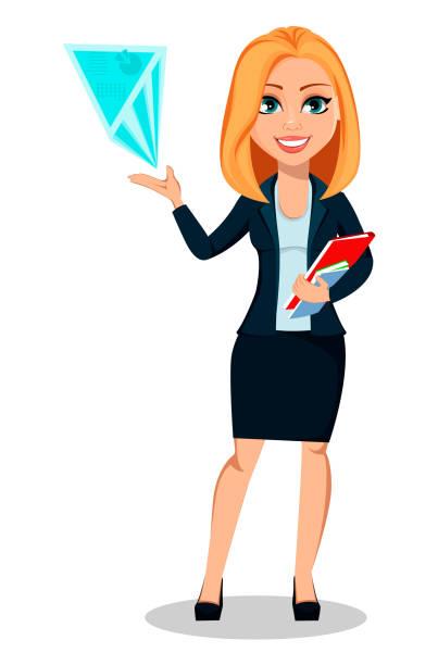 ilustrações de stock, clip art, desenhos animados e ícones de business woman in office style clothes - business woman hologram