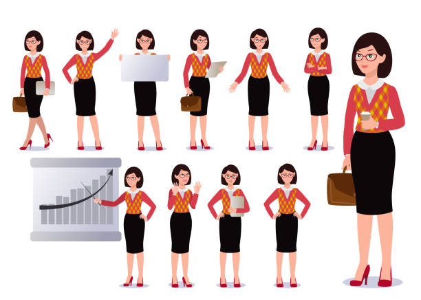business-frau in farbe gesetzt. emotionen. posen. - chefin stock-grafiken, -clipart, -cartoons und -symbole