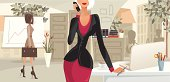 Illustration of a business woman in her office holding a cell phone. Woman and background are layered separately.