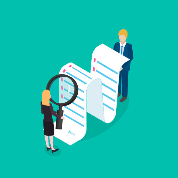 Business woman is checking or analyzing financial data. Accounting analysis,  contract study. Isometric Business woman is checking or analyzing financial data. Accounting analysis,  contract study. Isometric vector illustration mistake stock illustrations