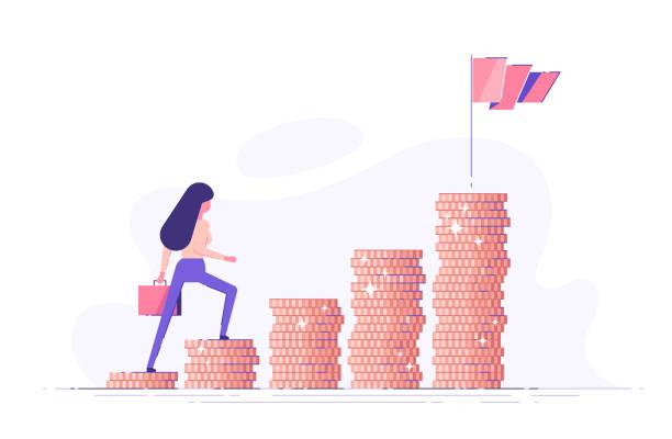 stockillustraties, clipart, cartoons en iconen met business woman klimt trappen van stapels munten in de richting van zijn financiële doel. persoonlijke investering en pensioen besparingen concept. moderne vector illustratie. - woman very rich