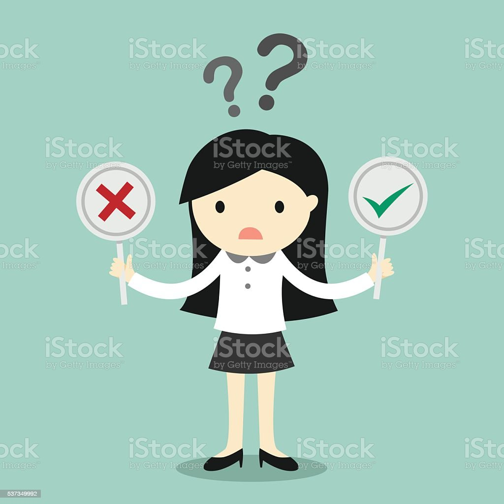 Business woman is confused about true or false. vector art illustration