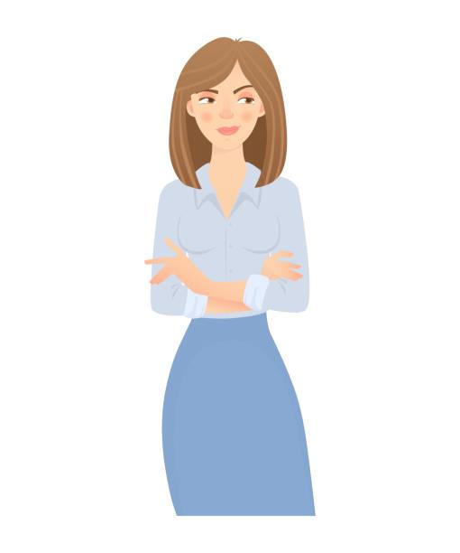 business-frau isoliert. geschäftliche haltung und gestik. junge geschäftsfrau-vektor-illustration. verschränkten armen - vertrauensbruch stock-grafiken, -clipart, -cartoons und -symbole