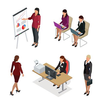 Business woman isometric set.