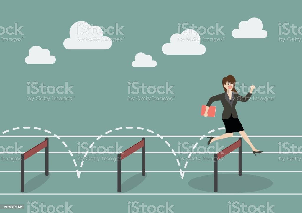 Business woman jumping over hurdle vector art illustration
