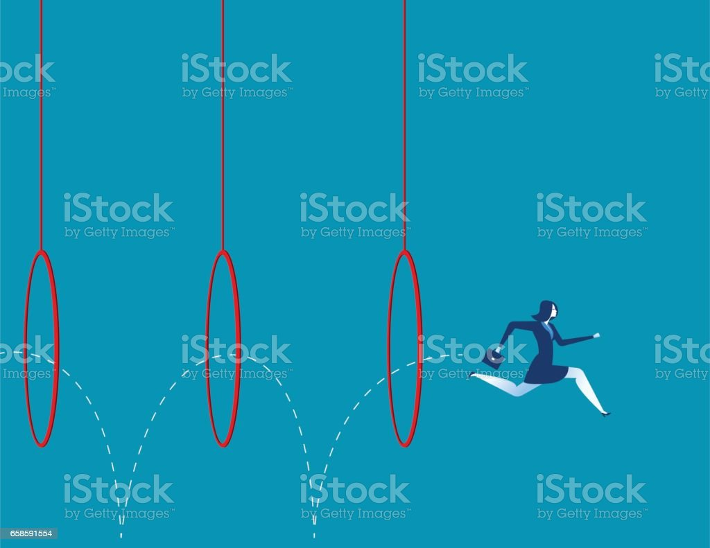 Business woman jumping through hoops. Concept business illustration. Vector flat vector art illustration