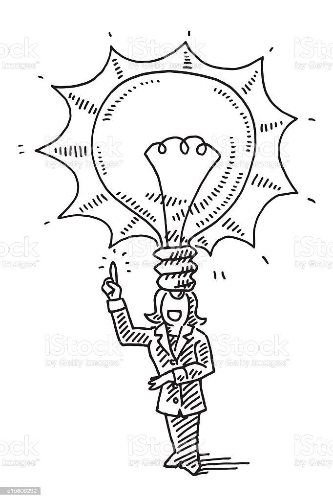 Business Woman Lightbulb Idea Concept Drawing vector art illustration