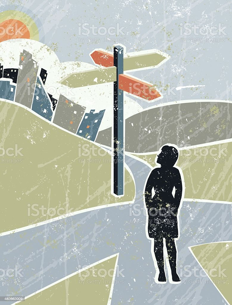 Business Woman Looking at Road Sign in Countryside, Crossroads vector art illustration